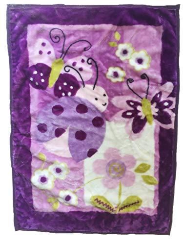 Danica Super Cozy Plush Baby Blanket, Cute Animal Pattern, 43' X 30' Cozy, Comfortable & Warm (Purple Ladybug)