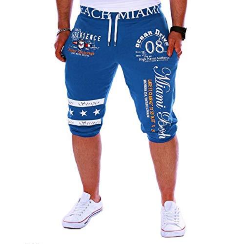 Pantalones Cortos Hombre Verano 2019 Nuevo SHOBDW Casual Impresión de Letras Pantalones Hombre Chandal Cordón Elástico Pantalones Cortos Hombre Deporte con Bolsillos Tallas Grandes(Azul,XL)