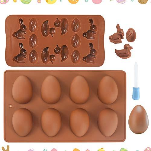 K KUMEED 2 Stück Pralinenform Ostern Backform Ostern, Silikon Backform Ostern Osterhase Schokolade Schokoladenform Ostern, Pralinenform Silikon Osterhase Backform für Schokolade