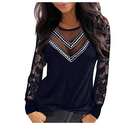 Your New Look Blusa elegante para mujer, de manga larga, con encaje, lentejuelas, cuello en V, manga larga, elegante marine S