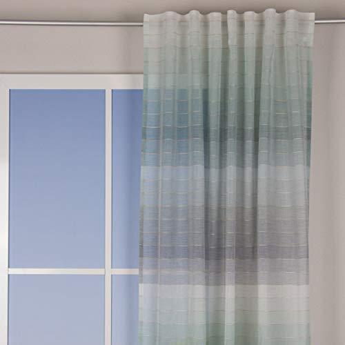 SchÖNER LEBEN. Cortina con trabillas, rayas horizontales, color blanco, turquesa, azul, 140 x 245 cm