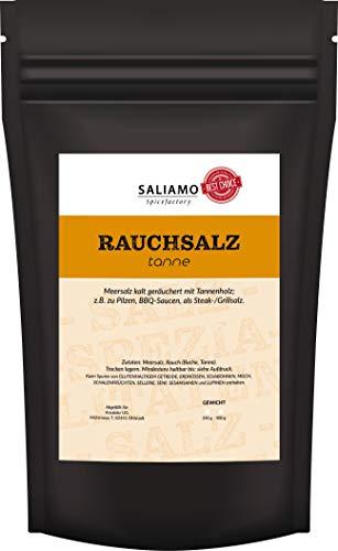 Rauchsalz Tanne Schwarzwälder Art, Salz mit kräftigem Rauchgeschmack, BBQ Salz, Gewürzsalz, Tannensalz, Buchenholzrauch, Rauch Aroma 250 g | Saliamo