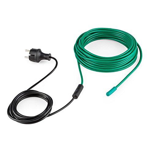 Waldbeck Greenwire - Cavo Riscaldante per Piante e Serre, Lunghezza Totale 12 Metri, Conduttore di Corrente di 2 Metri, 30-60 °C, Protezione dal Gelo, Isolamento in plastica, Nero/Verde