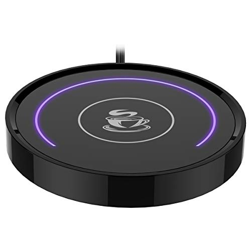 E-YIIVIIL Kaffeetassenwärmer,Tasse&Kaffeewärmer Smart Thermostat Untersetzer für Heißtee Getränke Büro- / Schreibtisch Verwendung mit Schwerkraftschalter Auto EIN/Aus 135F,Halbring-LED-Anzeige(lila)