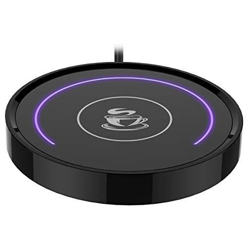 Kaffeetassenwärmer, Tasse & Kaffeewärmer Smart Thermostat Untersetzer für Heißtee Getränke Büro- / Schreibtisch Verwendung mit Schwerkraftschalter Auto Ein / Aus 135F, Halbring-LED-Anzeige(lila)