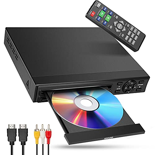 DVD Player for TV ARAFUNA Small Mini DVD Player with HDMI 1080P All Region Free Support HDMI AV Output USB SD Input Remote Control HDMI AV Cable Included