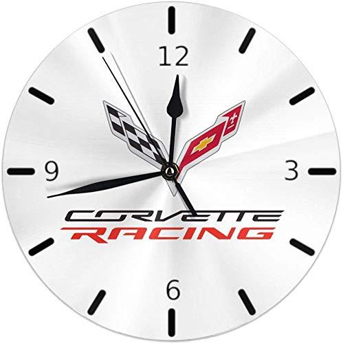 Kncsru Wanduhr Silent Non Ticking Round Wanduhren, Corvette Apparel Racing Logo Uhren Batteriebetriebene Quarz Analog Quiet Tischuhr