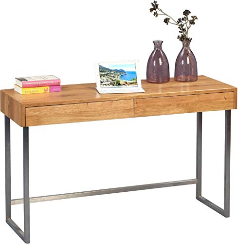HomeTrends4You 616022 - Consola/Escritura Mesa, Madera, Madera de Roble/Acero Inoxidable, 120 x 42 x 75 cm