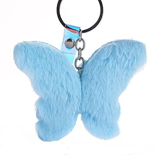 ZIYUYANG llavero, pompón de pelo de conejo llavero colgante de coche accesorios de regalo de joyería azul