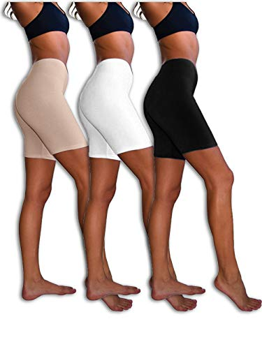 Sexy Basics Womens 3 Pack Sheer & Sexy Cotton Spandex Boyshort Yoga Bike Shorts (Medium -6, Black /White /Kahki)