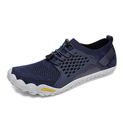 NORTIV 8 Men's Barefoot Water Shoes Lightweight Sports Aqua Shoes Outdoor Swim Fishing Hiking Diving Surf Walking Athletic Water Shoe Dark/Blue Size 7.5 US TREKMAN-2