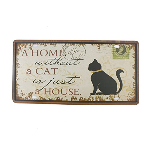 6x12 Inches Vintage Feel Rustic Home,Bathroom and Bar Wall Decor Car Vehicle License Plate Souvenir Metal Tin Sign Plaque (A Home Without A Cat is Just A House)