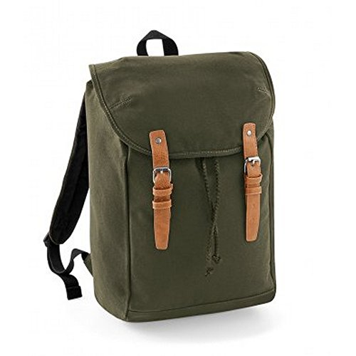 Quadra Vintage Rucksack/Backpack (Pack of 2) (One Size) (Military Green)