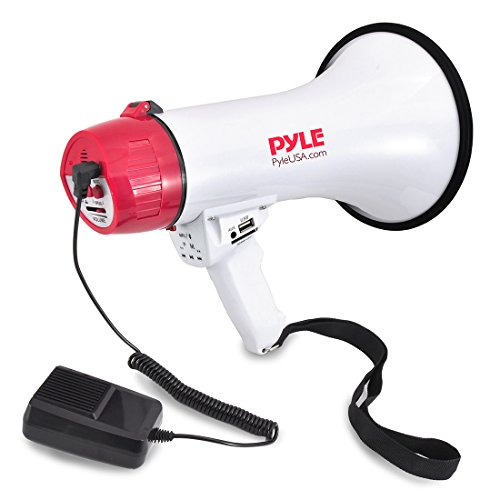 Pyle Bluetooth Bullhorn PA Megaphone - iPhone Megaphone Speaker with Wired Microphone, Siren Alarm Mode, MP3/USB/SD Readers - PMP42BT_0, Red/White