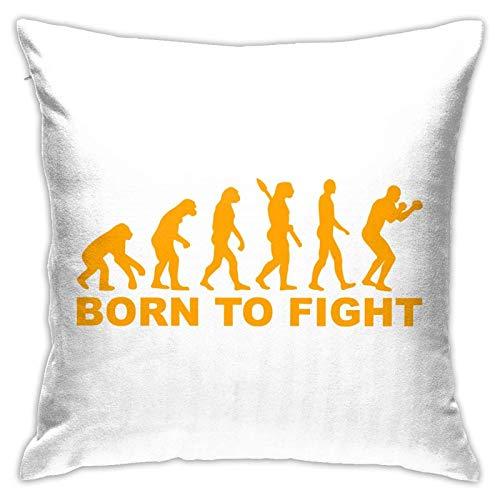 Born to Fight1 - Fundas de cojín de poliéster, fundas de almohada para sofá, decoración del hogar, 45,7 x 45,7 cm