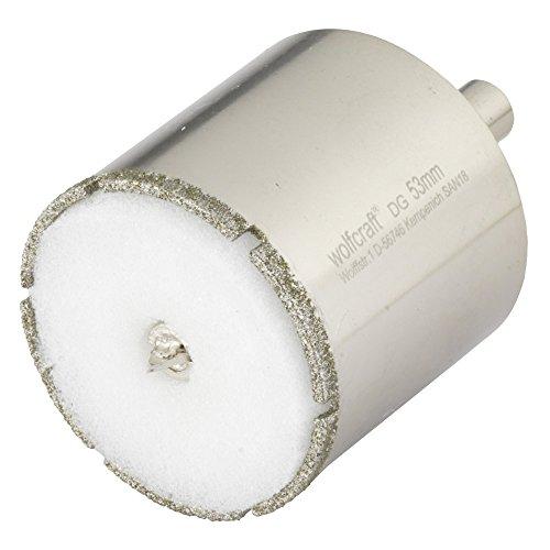 Wolfcraft 5929000 5929000-1 Sierra de Corona Diamant Ceramic con Broca de centrado, vástago 10 mm, Profundidad de Corte 45 mm diam. 53 mm, Acero inoxidable, 10mm