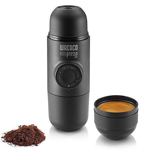 Wacaco Minipresso GR, Portable Espresso Machine, Compatible Ground Coffee, Hand Coffee Maker, Travel Gadgets, Manually Operated, Perfect for Camping, Hiking (Renewed)