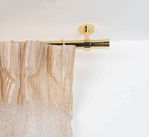 InCasa Gardinenstange Ø 28 mm, Länge: 200 cm, Glanz Messing – komplett