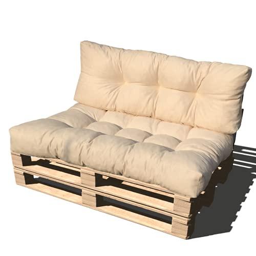 ValoreItalia Cuscino per Bancale Divano Pallet 80X120 Seduta e Schienale in Microfibra per Bancali (Beige)