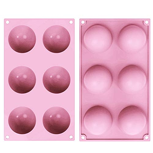TOSFOGO 2 Pcs 6 Holes Silicone Semi Sphere Mold, Half Round Baking Molds for Making Hot Chocolate Bomb, Cake, Jelly, Dome Mousse(Pink, Medium)