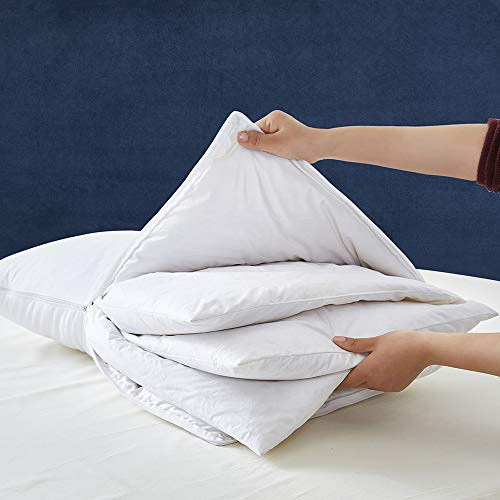 AIKOFUL Premium Adjustable Queen Size Goose Down Feather Pillow with 100% Cotton Cover (Queen Size)