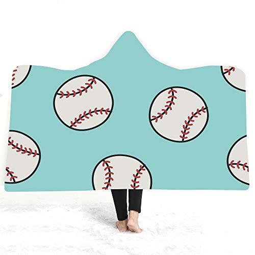 ACC Gedrukt met capuchon deken, sterke warme beddeken, sjaal, deken, draagbare capuchon, voor volwassenen en kinderen, cadeaudeken