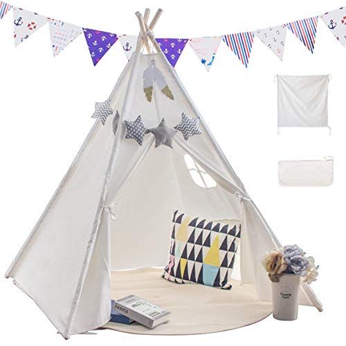 Princess Castle Teepee Tent Kids with Floor Mat & Carry Case &Coloured Flag,Play Teepee Toys for Baby & Toddler Indoor Outdoor Playing,Foldable Gifts Playhouse for Boys and Girls (white)