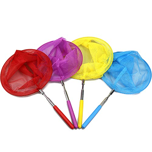 Miraclekoo 4 Pack Kids Telescopic Butterfly Net Colorful Insect Net for Catching Butterfly Bugs Insects and Fishing - Extendable 34