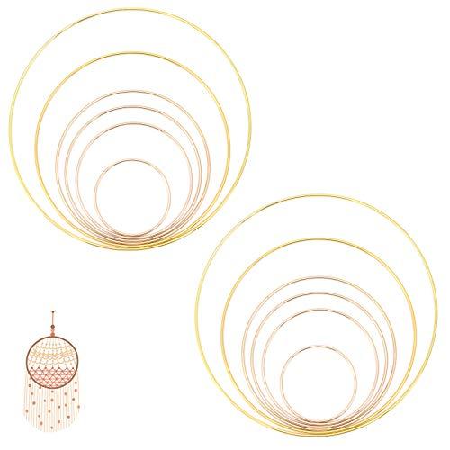 TAECOOOL 12 Stück 6 Größen Makramee Metallringe für DIY-Kranzdekor, Herstellung von Hochzeitskranzdekor Makramee Wandbehang und Traumfänger (8 cm / 12 cm / 14 cm / 16 cm / 20 cm / 25 cm) (Goldenes)
