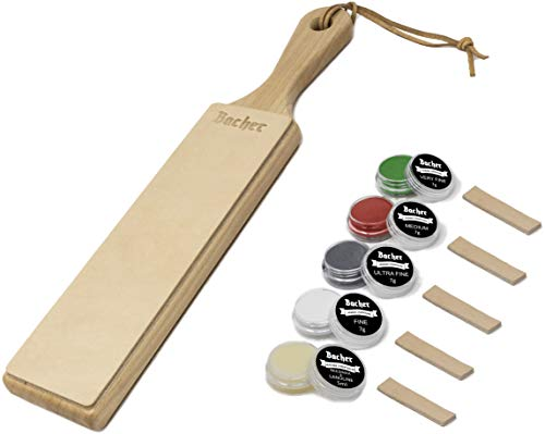 BACHER Premium Leder Streichriemen. Paddelgriff aus Hartholz, mit 1/8