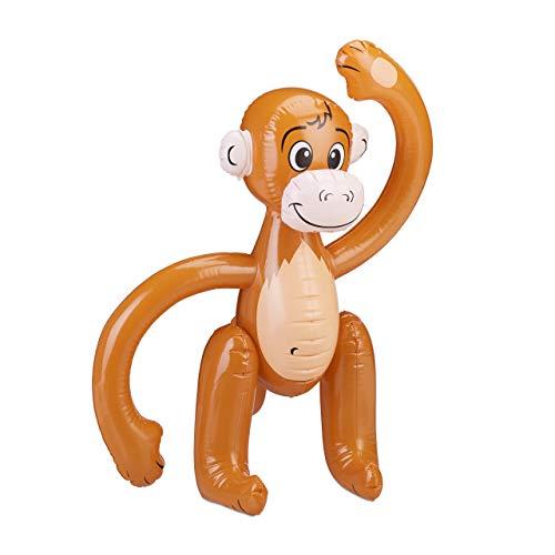 Relaxdays 10024252 aufblasbarer AFFE, Äffchen Schwimmtier, Dschungel Party Deko, Safari, Karneval, Kinder Wasserspielzeug, braun Affe-ausblasbar-61 cm