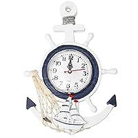 壁時計ボートアンカー地中海スタイルの壁掛け時計船の装飾家の装飾的な壁時計