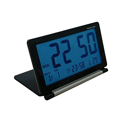 Zantec LED ultramince Mini Portable Voyage Clamshell Digital Table Alarm Clock avec Lampe de Nuit