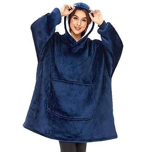 SUNXK Manta con capucha, de gran tamaño, súper suave, cálida, cómoda, gigante, compatible con todos los hombres, mujeres y adolescentes, azul oscuro, Talla única