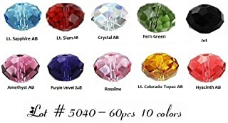 60 High Quality Eveserose Czech Crystal Beads Size 6mm Rondelle #5040 10 Colors For Swarovski Craftings