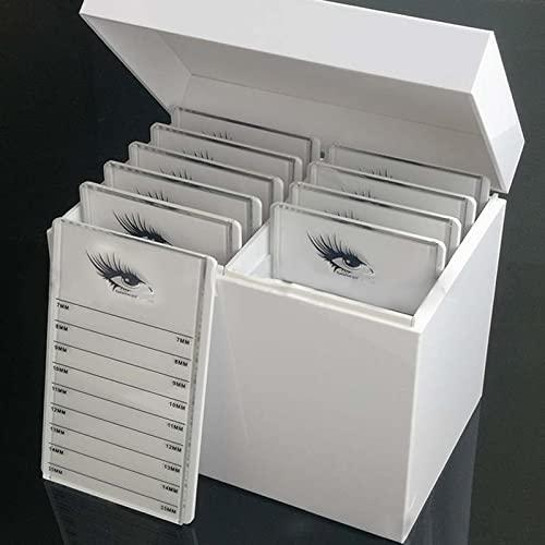 Perfectha 10 capas Caja de almacenamiento de pestañas de cristal, Pestañas de injertos de exhibición empaque cerrado de almacenamiento de pestañas Organizador de maquillaje Pestañas falsas big sale