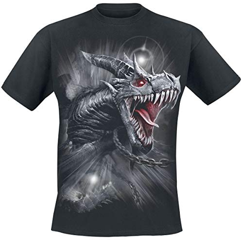 Spiral Dragon's Cry Männer T-Shirt schwarz L, 100% Baumwolle, Drachen, Everyday Goth, Gothic