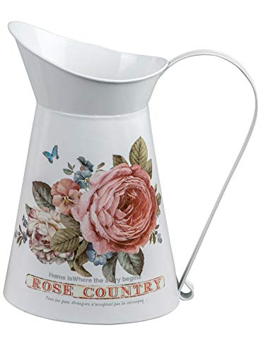 dekojohnson rustikale Deko-Krug mit Rosendekor Deko-Milchkrug antikes Bauerngefäß Bauerndeko Metallkanne Milchkanne Landhaustil weiß rosa 22cm