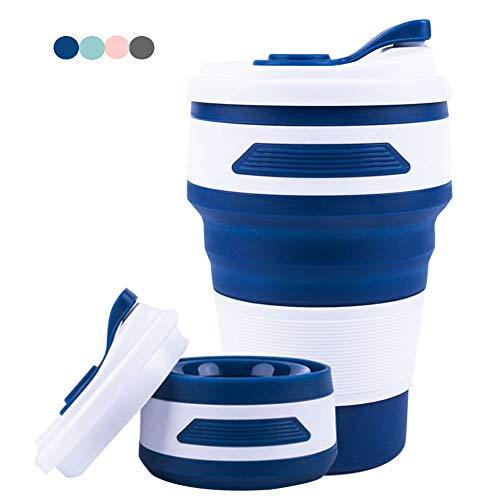 Widamin Wiederverwendbare Faltbare Kaffee Ttasse, Tragbare Kaffeetasse, Reisebecher, Zusammenklappbare Silikon Becher, 350ML (Dunkelblau)