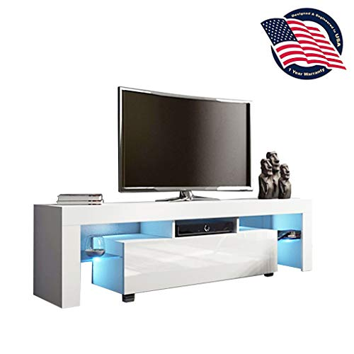 Kadola US Fast Shipment White TV Stand with Lights, Modern LED TV Cabinet with Storage Drawers,High Gloss TV Stand for 43/55/50/65 Inch TV Living Room Entertainment Center Media Console Table