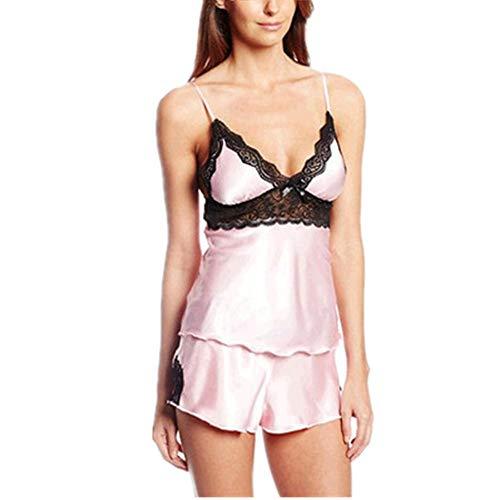 Damen Nachthemd Sexy Spitzen Dessous Set Nachtwäsche Kurz Pyjama Shorts Negligee Set Mit Verstellbaren Trägern Damen Schlafanzug Sexy Hausanzug Satin Pyjama Kurz Set D-Pink XL