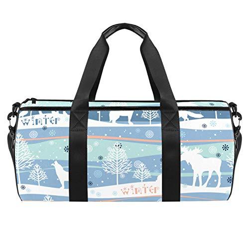 ASDFSD Bolsa de deporte, bolsa de playa con correa ajustable, bolsos y cremallera para equipo de gimnasio, pelotas de deporte y deportes acuáticos, bosque de invierno sin costuras