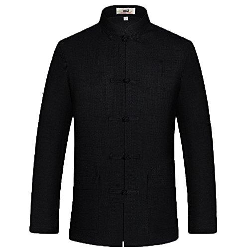 ZooBoo Mens Chinese Tang Suit Kung Fu Uniform Cotton Jacket Martial Art (Black, M)