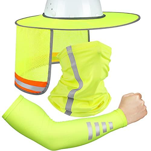 3 Pieces Sun Hard Hat High Visibility Sun Shield Hard Hat Full Brim Mesh Neck Sunshade, Bandana Headband Face Scarf, UV Sun Protection Arm Sleeves with Reflective Strap for Hard Cooling (Neon Yellow)