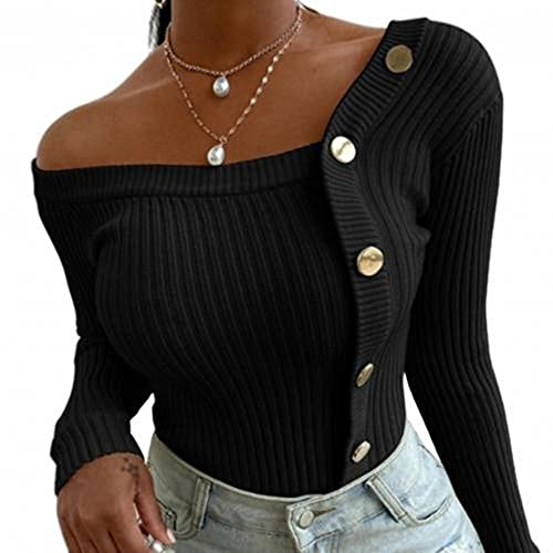MARYSHARON Sweter damski zimowy jesień bluzka jedno ramię prążkowane guziki swetry wąski sweter z dzianiny, Czarny, XXL