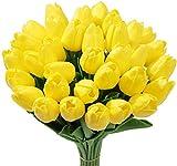 Tifuly 24 Pezzi di Tulipani Artificiali in Lattice, realistici Bouquet di Fiori Finti di Tulipani per la casa, Matrimonio, Festa, Decorazione dell'ufficio, composizioni Floreali (Giallo)