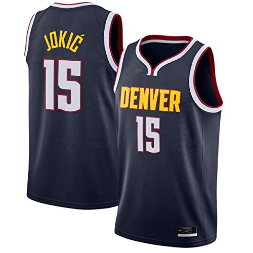 BVFDW Jerseys de entrenamiento de baloncesto al aire libre Nikola Denver NO.15 Nuggets Jokic 2020/21 Swingman Jersey Navy - Icono Edition Camisas Para Hombres