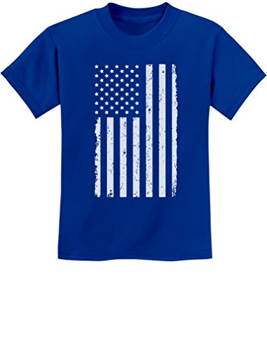 Big White American Flag 4th of July Gift U.S.A Youth Kids T-Shirt Medium Blue