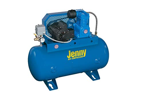 Jenny G3A-30 Single Stage Horizontal Corded Electric Powered Stationary Tank Mounted Air Compressor with G Pump, 30 Gallon Tank, 1 Phase, 3 HP, 230V
