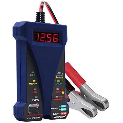 MOTOPOWER MP0514B 12V Digital Batterietester Voltmeter und Ladesystem Analyzer mit LCD Display und LED Anzeige - Blau